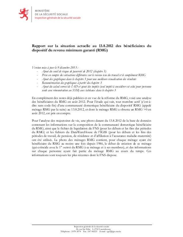 Rapport sur la situation actuelle au 13.8.2012 des bénéficiaires du dispositif du revenu minimum garanti (RMG)  Version mi...