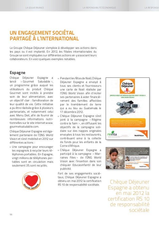 Rapport de responsabilit soci tale 2012 du groupe up - Up cheque gourmet ...