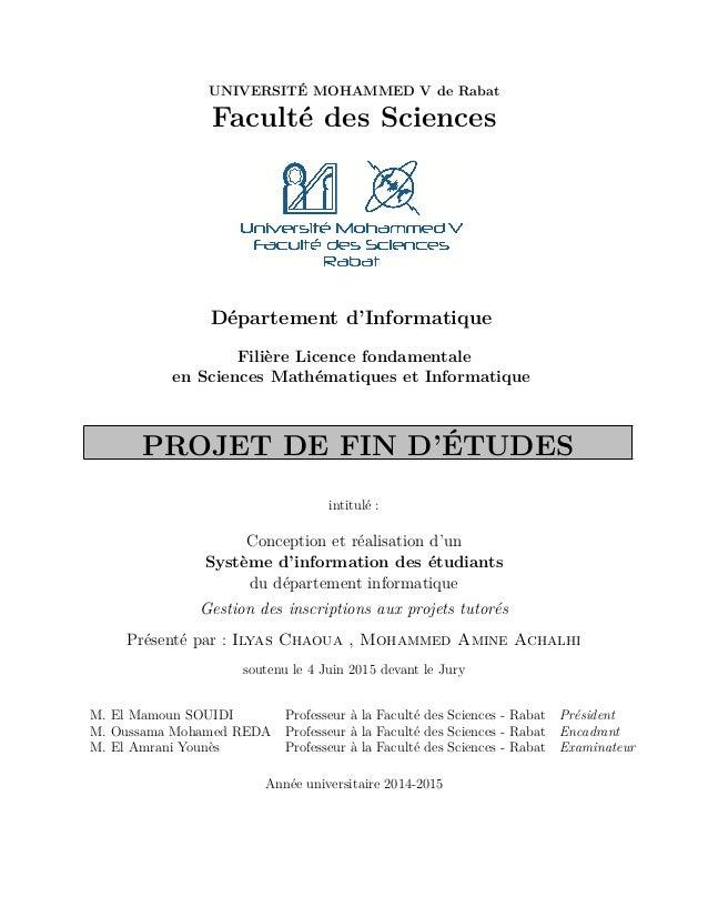 UNIVERSITÉ MOHAMMED V de Rabat Faculté des Sciences Département d'Informatique Filière Licence fondamentale en Sciences Ma...