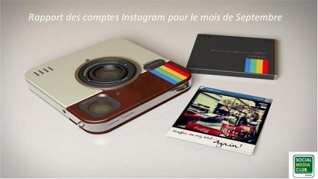 Rapport des comptes Instagram pour le mois de Septembre