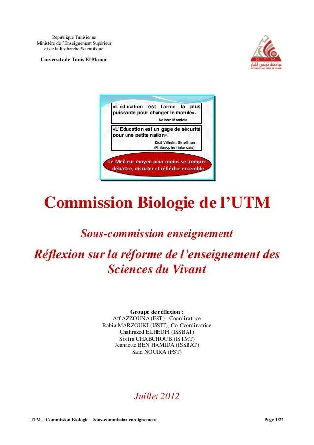 UTM – Commission Biologie – Sous-commission enseignement Page 1/22République TunisienneMinistère de l'Enseignement Supérie...