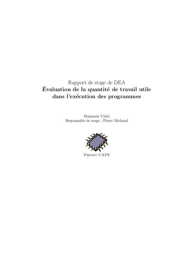 Rapport de stage de DEA  ´Evaluation de la quantit´e de travail utile  dans l'ex´ecution des programmes  Benjamin Vidal  R...