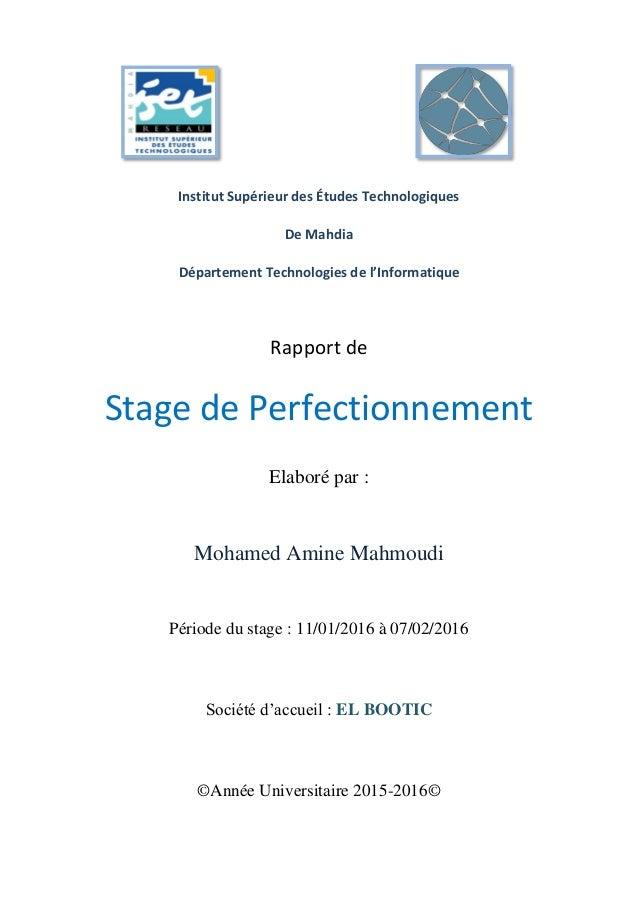 Rapport De Stage De Perfectionnement Mahmoudi Mohamed Amine