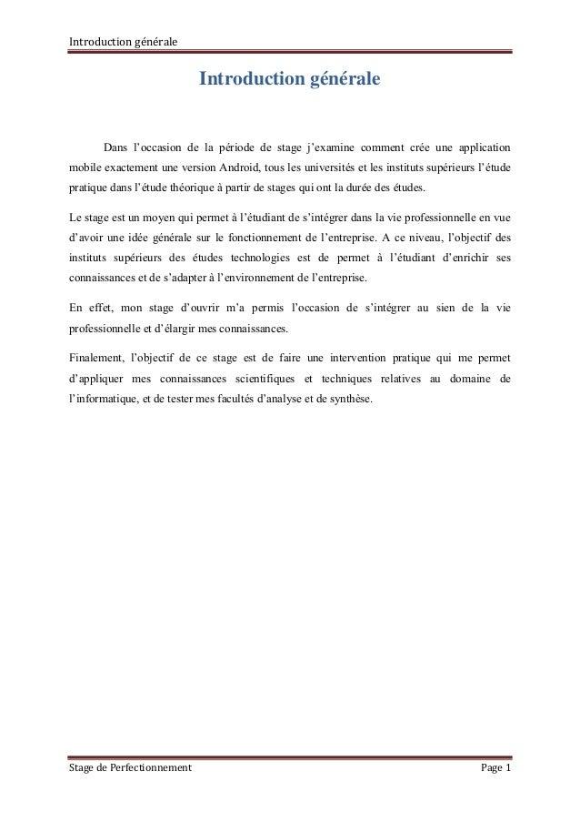 Rapport de stage de perfectionnement mahmoudi mohamed amine for Introduction rapport de stage cuisine