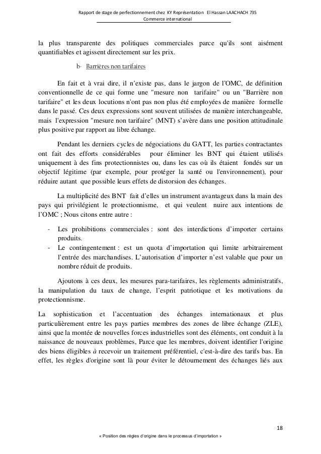 Rapport Stage Problématique Commerce International