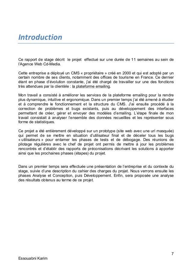 Rapport de stage de fin d 39 etudes du dut for Introduction rapport de stage cuisine