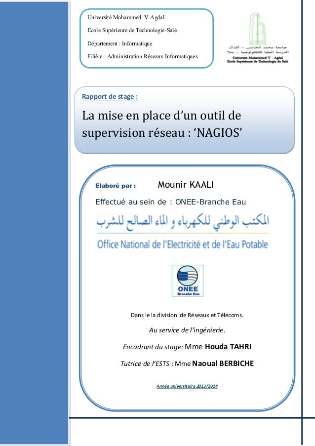 Université Mohammed V-Agdal Ecole Supérieure de Technologie-Salé Département : Informatique Filière : Administration Résea...