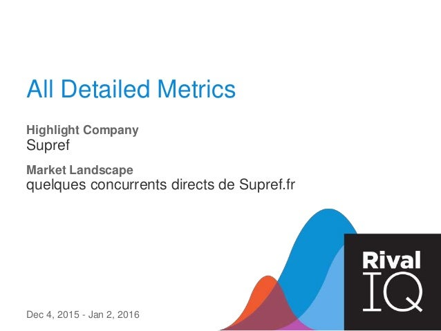 All Detailed Metrics Highlight Company Supref Dec 4, 2015 - Jan 2, 2016 Market Landscape quelques concurrents directs de S...