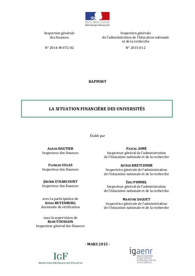 Inspection générale des finances N° 2014-M-072-02 Inspection générale de l'administration de l'éducation nationale et de l...
