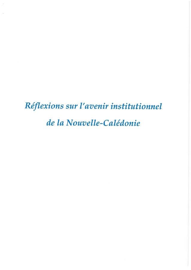 Le rapport sur l'avenir Institutionnel de la Nouvelle-Calédonie