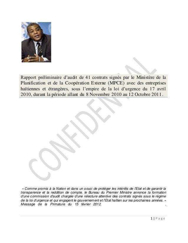 1 | P a g e Rapport préliminaire d'audit de 41 contrats signés par le Ministère de la Planification et de la Coopération E...