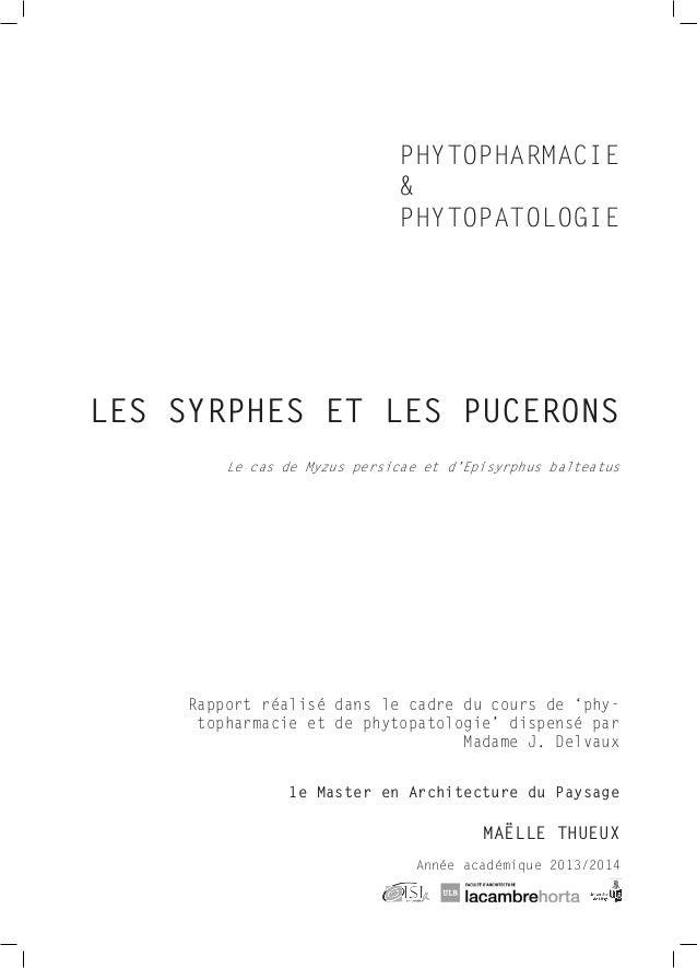 1e Master en Architecture du Paysage MAËLLE THUEUX PHYTOPHARMACIE & PHYTOPATOLOGIE Rapport réalisé dans le cadre du ...