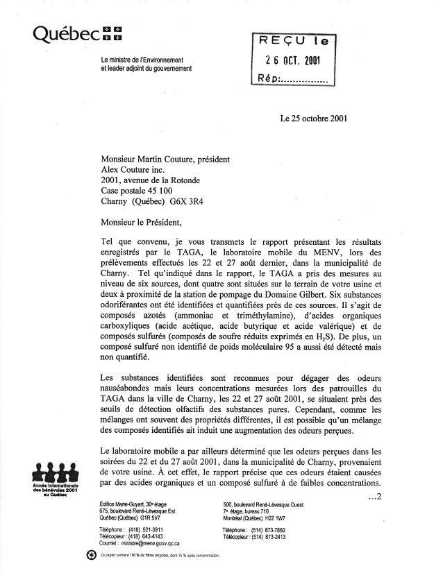 Rapport taga fait à charny 2001