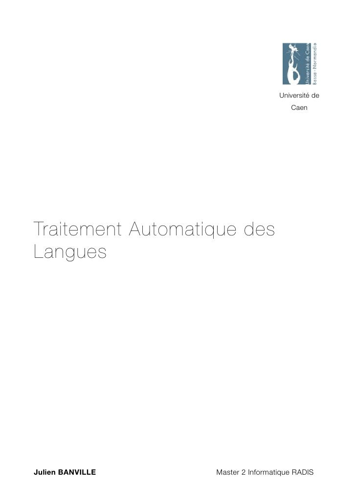 Université de                                               Caen     Traitement Automatique des Langues     Julien BANVILL...