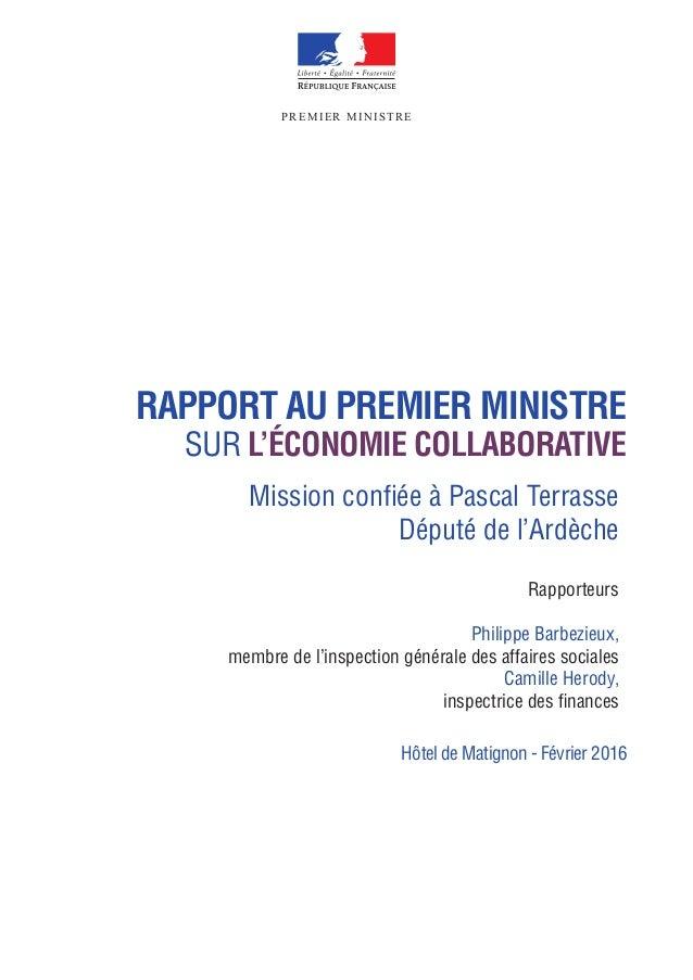 Vignette du document Rapport au premier ministre sur l'économie collaborative