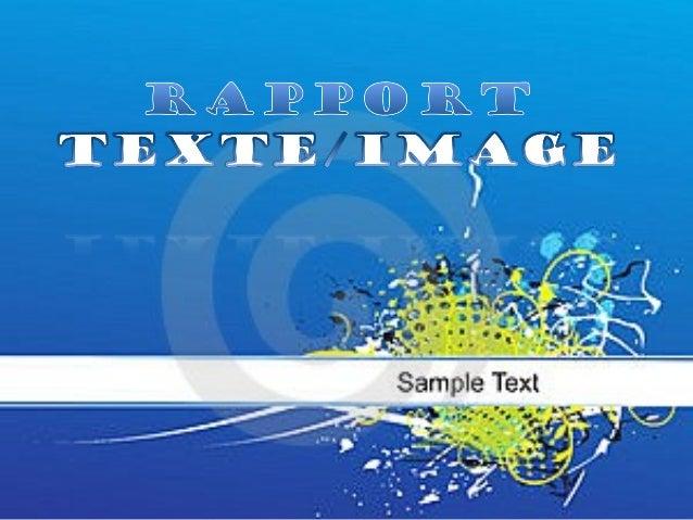 Image :                 Texte:            Rapport          Texte/Image