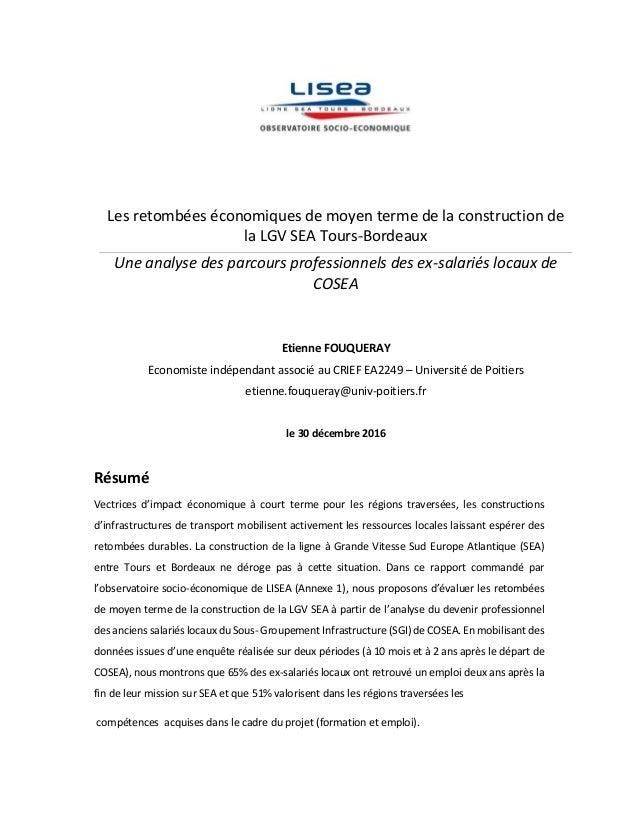 Les retombées économiques de moyen terme de la construction de la LGV SEA Tours-Bordeaux Une analyse des parcours professi...