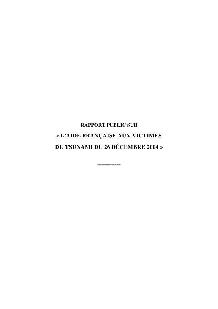Rapport Tsunami Cour des Comptes
