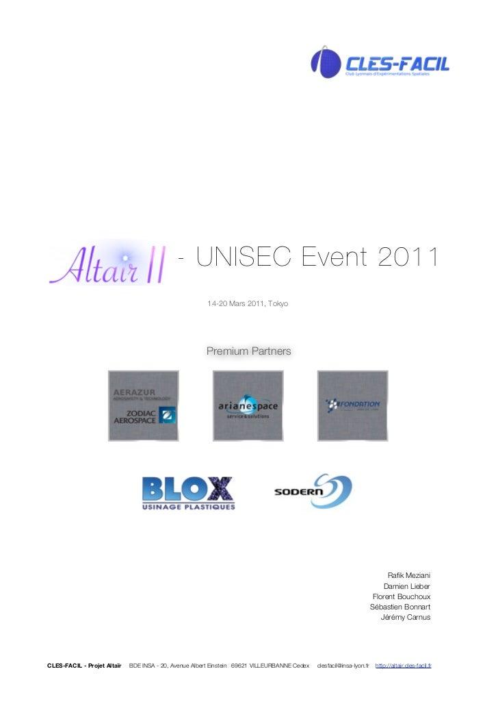 - UNISEC Event 2011                                                       14-20 Mars 2011, Tokyo                          ...