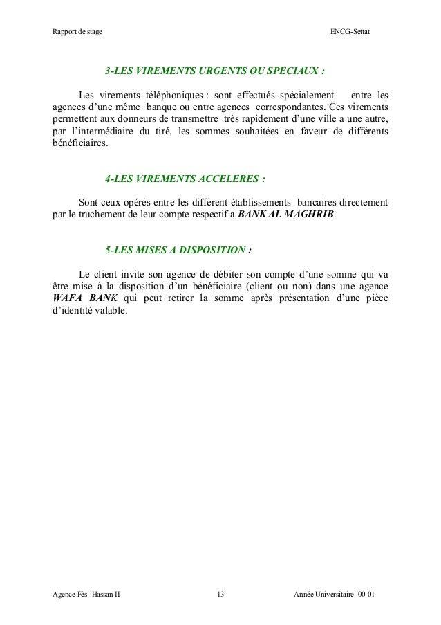 Rapport wafa bank for Chambre de compensation bancaire