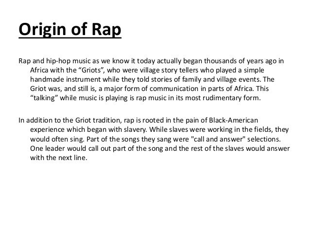the origin of rap music