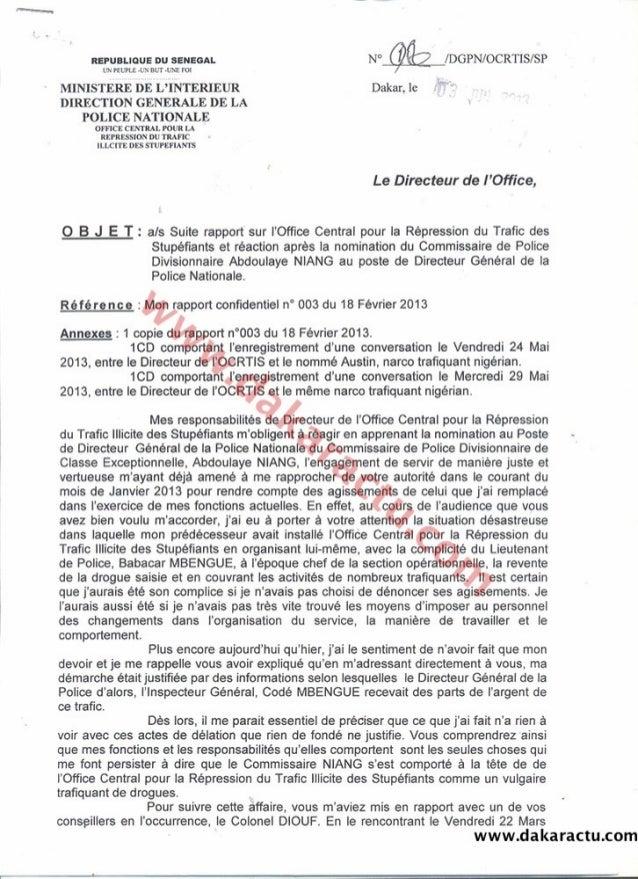 Rapport du Commissaire Keïta : L'alerte envoyée au Ministre de l'intérieur pour prévenir une nomination périlleuse du Comm...