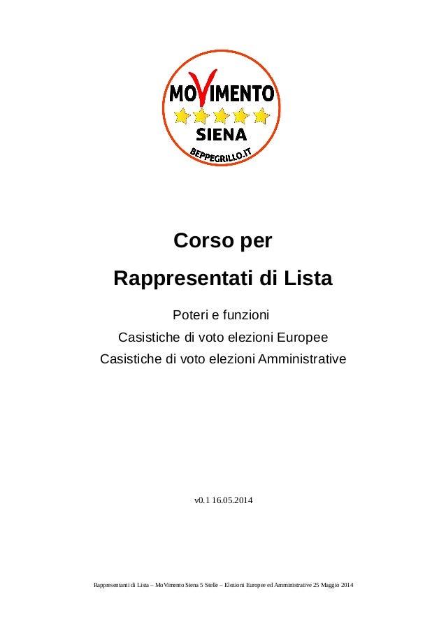 Corso per Rappresentati di Lista Poteri e funzioni Casistiche di voto elezioni Europee Casistiche di voto elezioni Amminis...