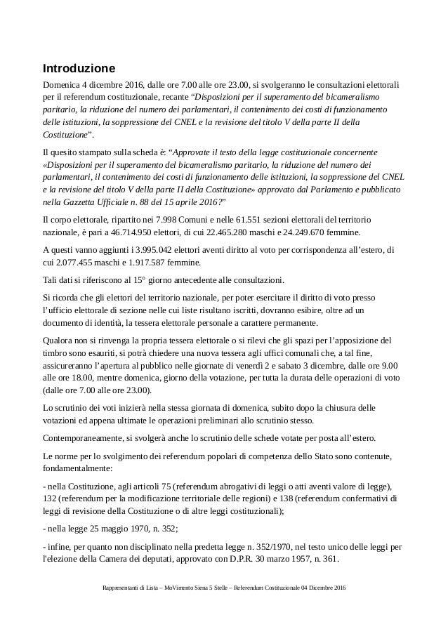 Corso per rappresentanti di lista referendum for Numero di parlamentari