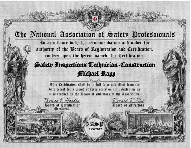 Safety Inspections Technician-Construction               Michael Rapp                  7/5/2012
