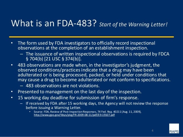 Responding Effectively to FDA 483 Observations & Warning Letters