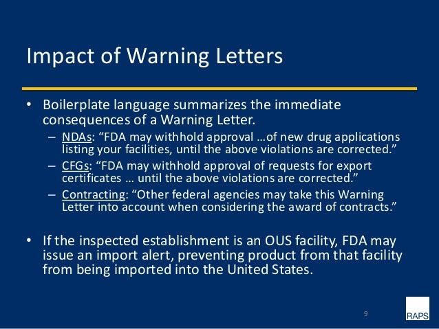 9 impact of warning letters boilerplate language summarizes