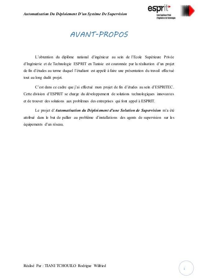 Automatisation Du Déploiement D'un Système De Supervision Réalisé Par : TIANI TCHOUILO Rodrigue Wilfried i AVANT-PROPOS L'...