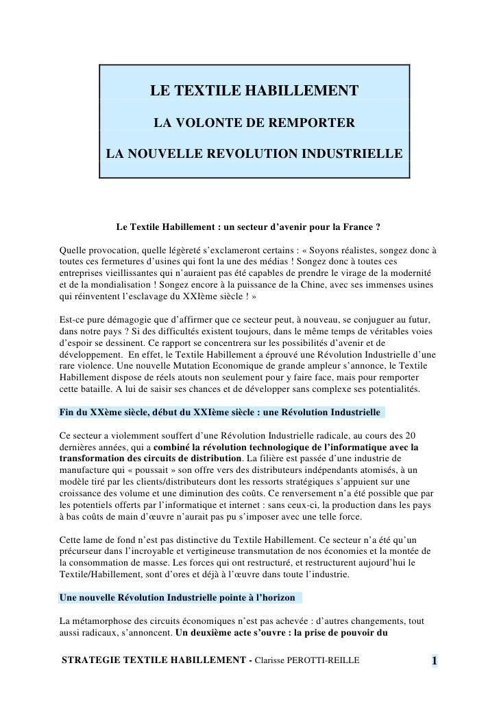 LE TEXTILE HABILLEMENT                          LA VOLONTE DE REMPORTER              LA NOUVELLE REVOLUTION INDUSTRIELLE  ...