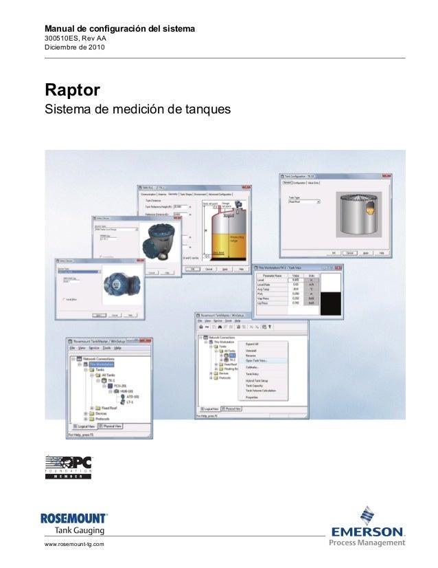 Manual de configuración del sistema  300510ES, Rev AA  Diciembre de 2010  Raptor  Sistema de medición de tanques  www.rose...