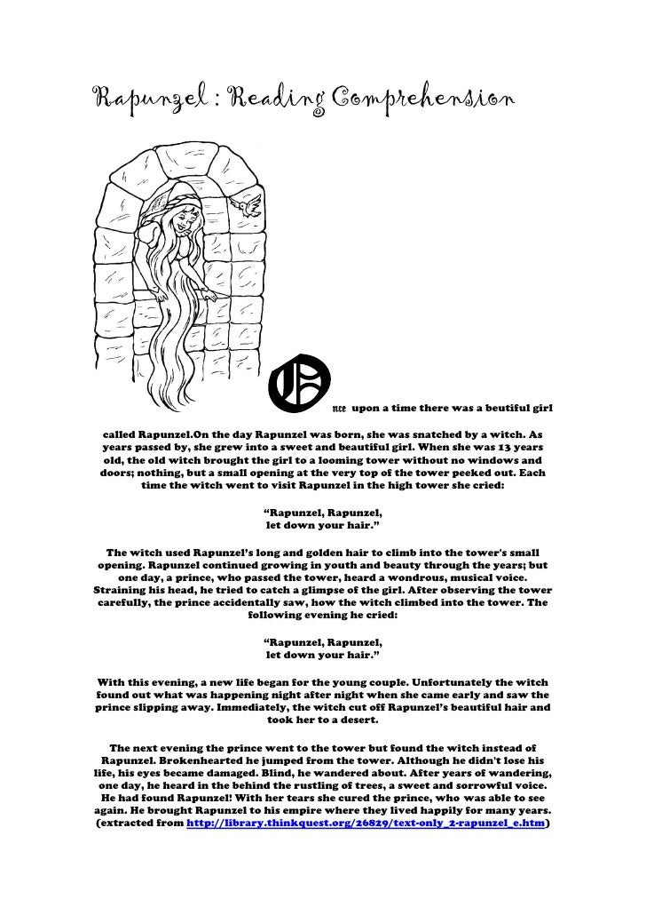 Rapunzel : Reading Comprehension                                O           nce upon a time there was a beutiful girl call...