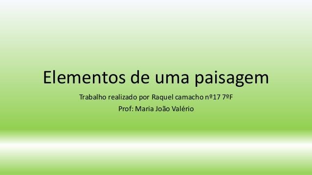 Elementos de uma paisagem Trabalho realizado por Raquel camacho nº17 7ºF Prof: Maria João Valério