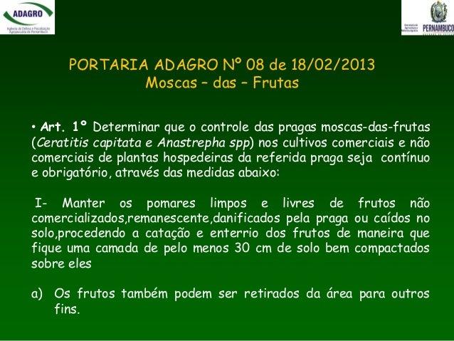 Programa Estadual de Fiscalização do Monitoramento e Controle de Moscas-das-Frutas Slide 3