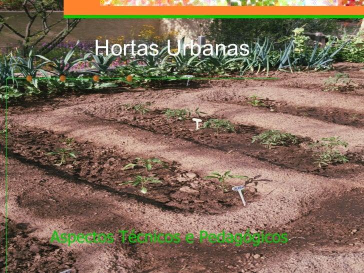 Hortas Urbanas   <ul><li>Aspectos Técnicos e Pedagógicos   </li></ul>