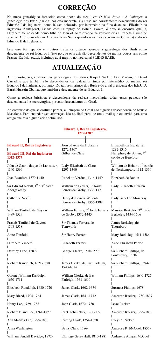 CORREÇÃONo mapa genealógico fornecido como anexo do meu livro O Mito Jesus – A Linhagem agenealogia dos Bush (pai e filho)...
