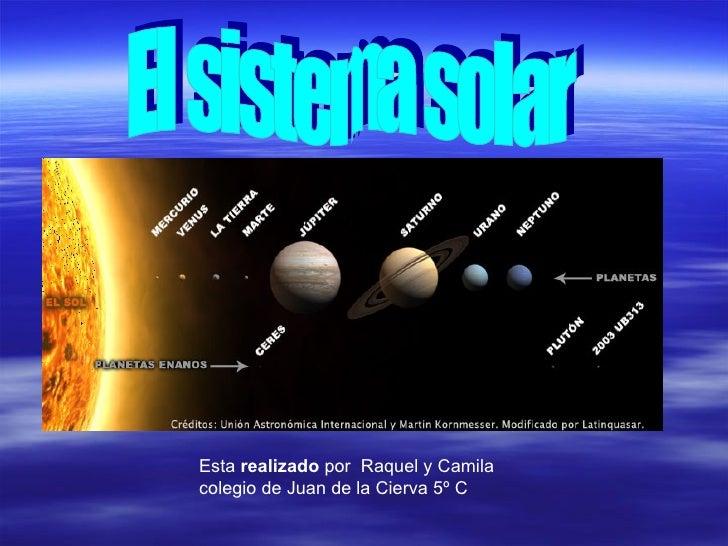 El sistema solar Esta  realizado  por  Raquel y Camila colegio de Juan de la   Cierva 5º C