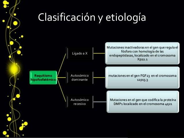 Clasificación y etiología Raquitismo hipofosfatémico Ligado a X Mutaciones inactivadoras en el gen que regula el fósforo c...