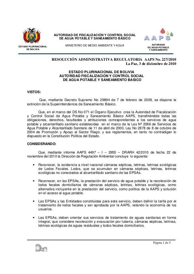 ESTADO PLURINACIONAL DE BOLIVIA AUTORIDAD DE FISCALIZACIÓN Y CONTROL SOCIAL DE AGUA POTABLE Y SANEAMIENTO BÁSICO MINISTERI...
