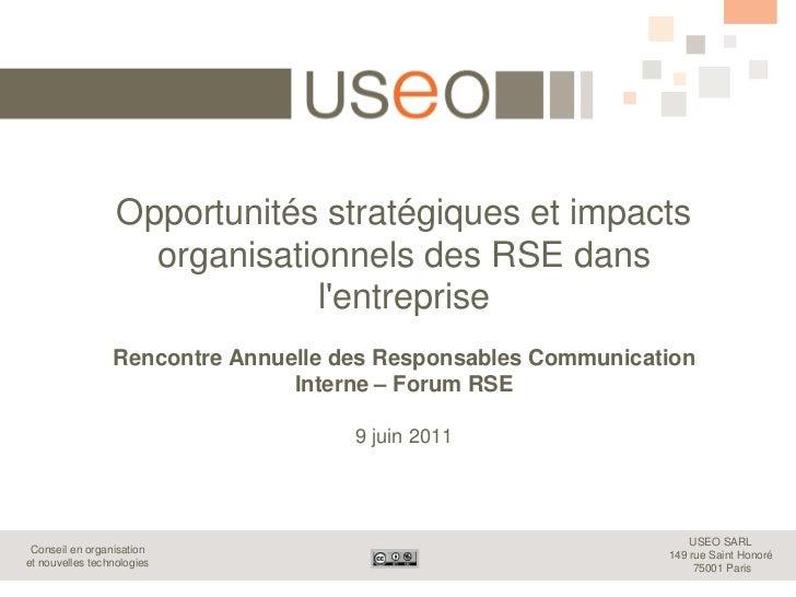Opportunités stratégiques et impacts                    organisationnels des RSE dans                              lentrep...
