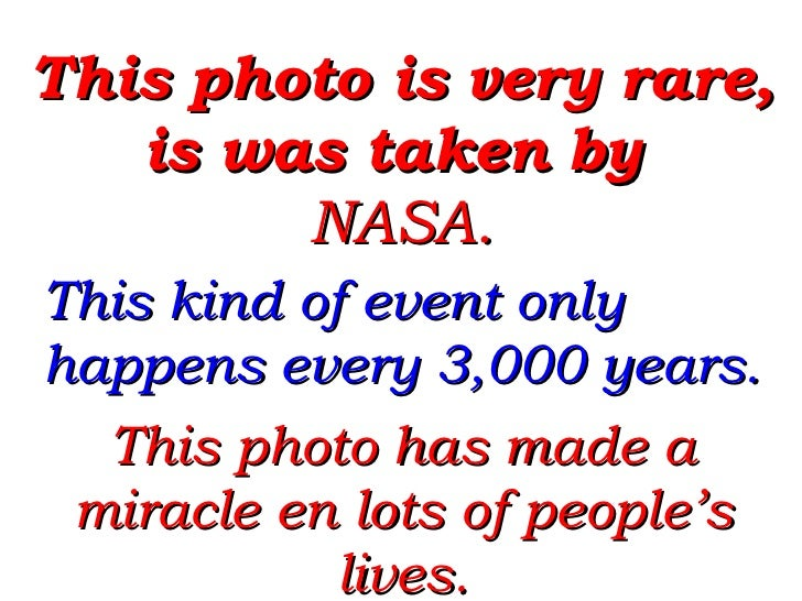 This photo is very rare, is was taken by  NASA.  This kind of event only happens every 3,000 years. This photo has made a ...