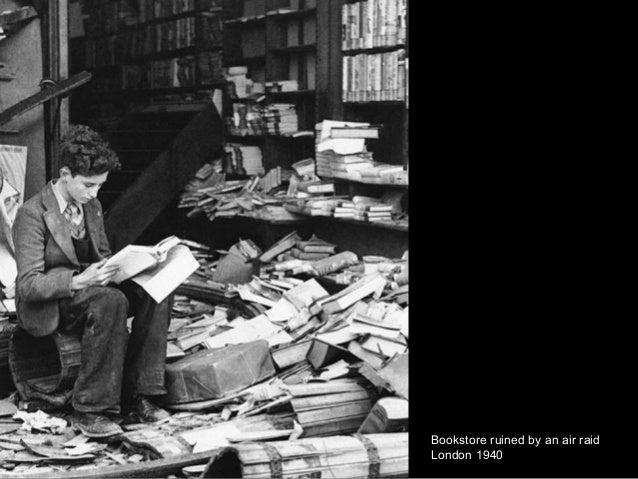 Bookstore ruined by an air raid London 1940