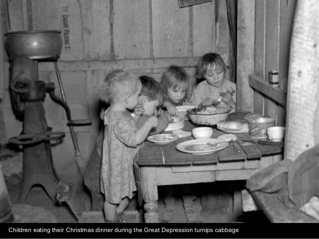 Children eating their Christmas dinner during the Great Depression turnips cabbage