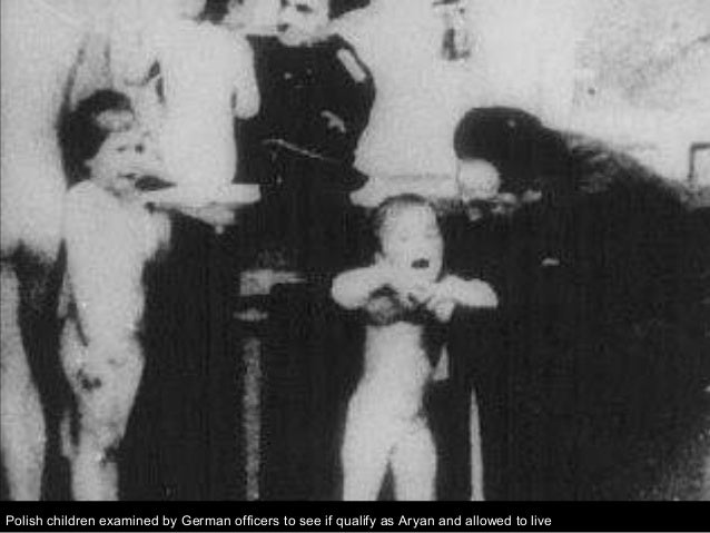 Polish children examined by German officers to see if qualify as Aryan and allowed to live
