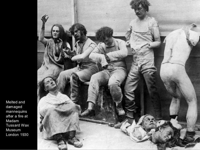 Melted and damaged mannequins after a fire at Madam Tussard Wax Museum London 1930