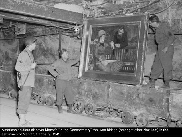 """American soldiers discover Manet's """"In the Conservatory"""" that was hidden (amongst other Nazi loot) in the salt mines of Me..."""