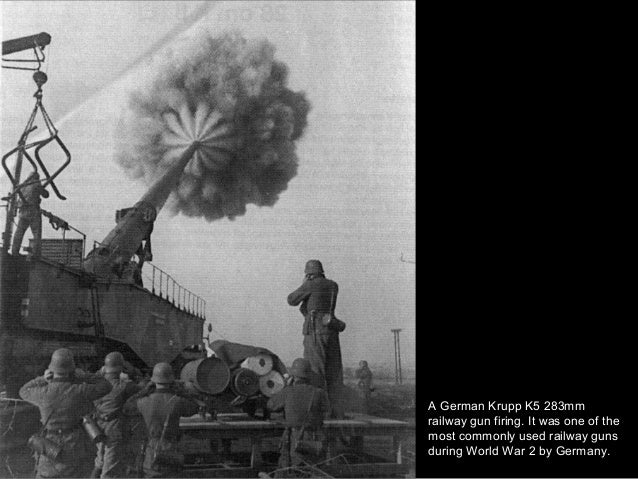 A German Krupp K5 283mm railway gun firing. It was one of the most commonly used railway guns during World War 2 by German...